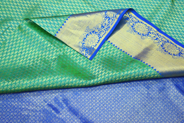 Handwoven Kanchi pure silk brocade saree in teal green