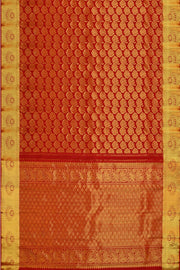 Handwoven Kanchi pure silk brocade saree in red with floral motifs