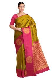 Handloom Kanchi pure silk saree in honey colour with small buttis and one side border. - Anivartee