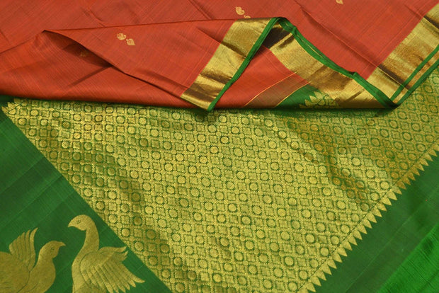 Handloom Kanchi pure silk saree in brown with small buttis and one side border. - Anivartee