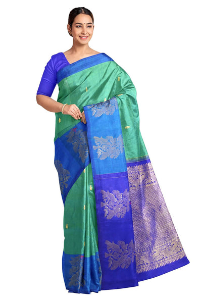 Handloom Kanchi pure silk saree in teal green with small buttis and one side border. - Anivartee