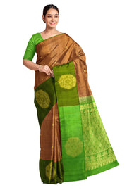 Handloom Kanchi pure silk saree in walnut colour with small buttis and one side border. - Anivartee