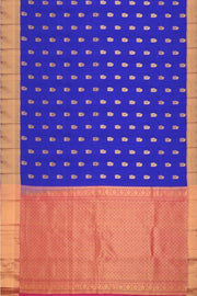 Handloom Kanchi pure silk saree in royal blue with mango motifs. - Anivartee
