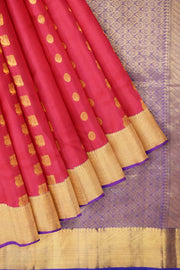 Handloom Kanchi pure silk saree in pink with mango motifs. - Anivartee