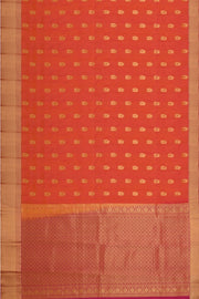 Handloom Kanchi pure silk saree in orangish pink  with mango motifs. - Anivartee