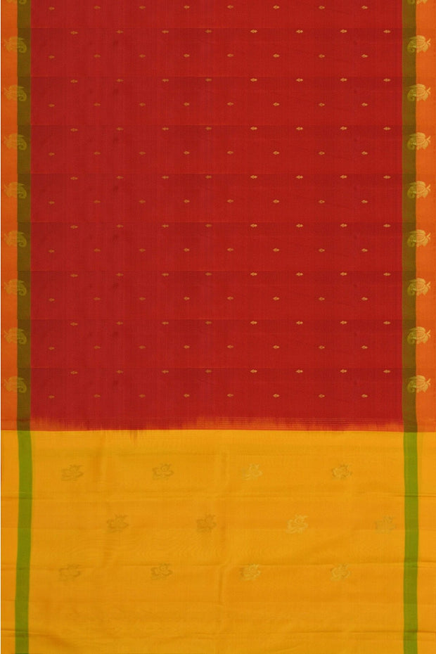 Handloom Kanchi pure silk saree in red with small buttis on the body - Anivartee