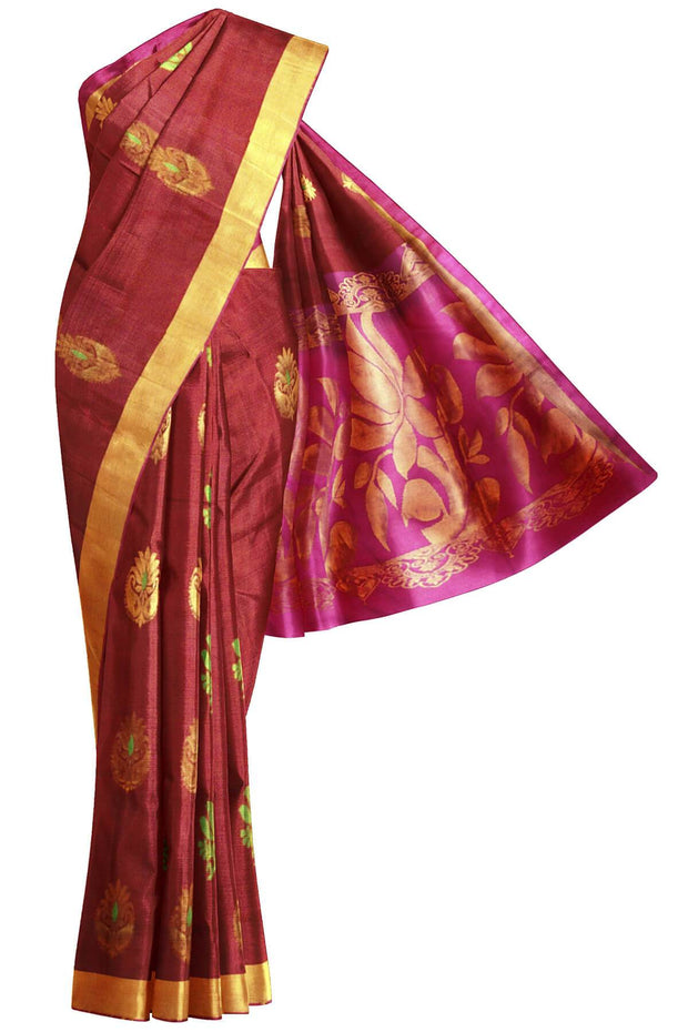 Handloom Kanchi soft silk saree in floral pattern - Anivartee