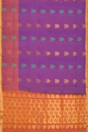 Kanchi soft silk saree in light blue with floral pattern & striped border - Anivartee