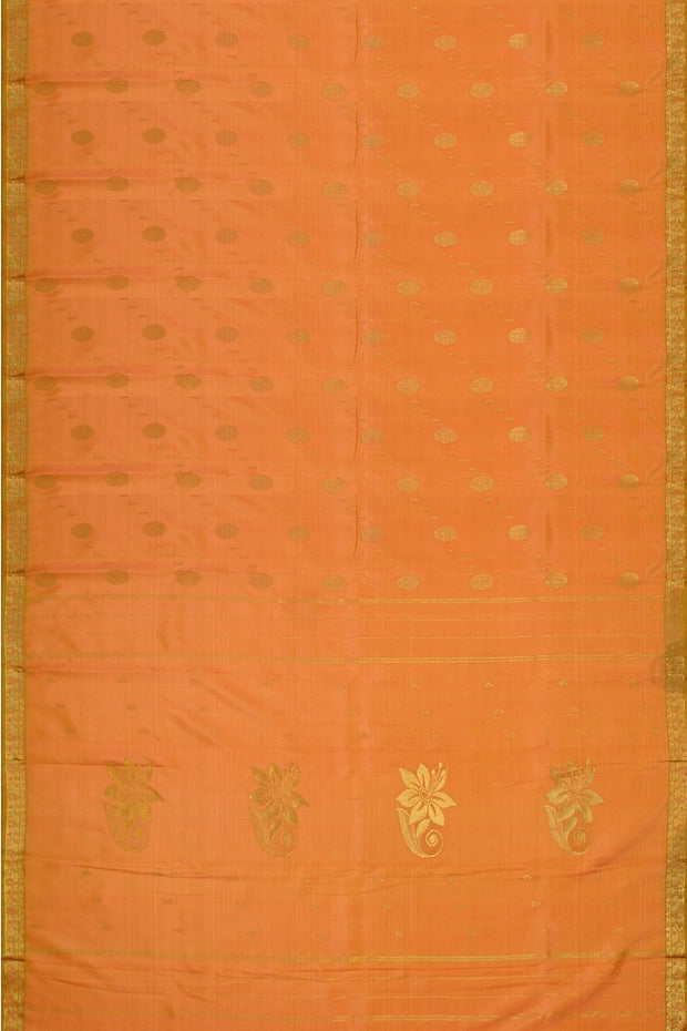 Handloom Kanchi pure silk saree in pastel shade of peach in partly style. - Anivartee