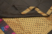 Handloom Kanchi pure silk saree in self design black with floral motifs in rich pallu. - Anivartee