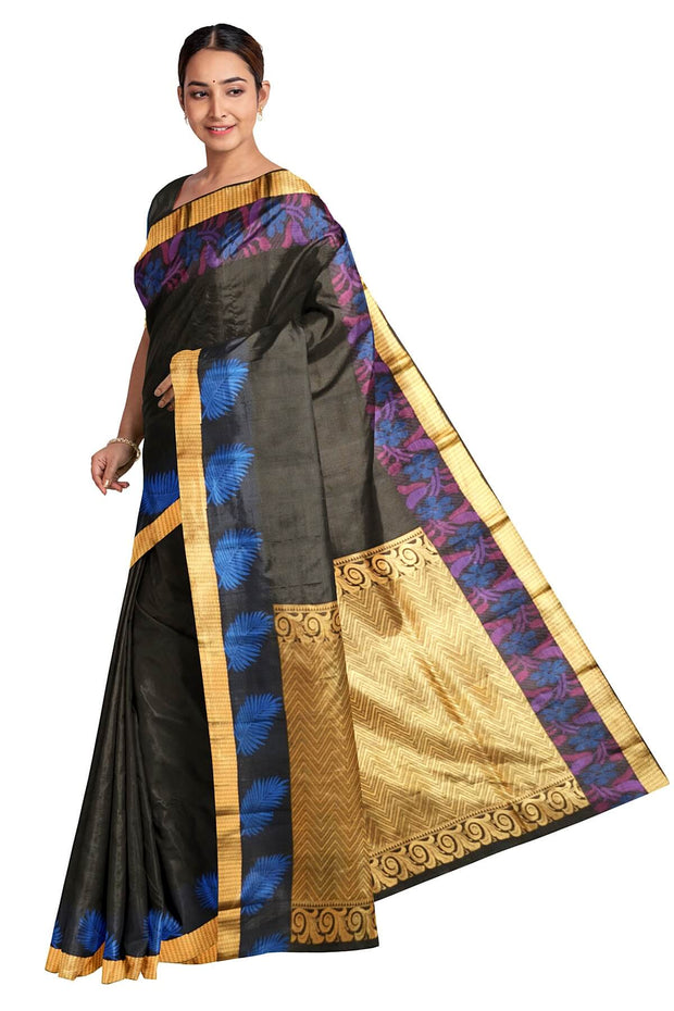 Handloom Kanchi pure silk saree in self design black with zigzag pattern in pallu. - Anivartee