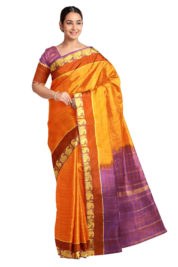 Handloom Kanchi pure silk saree in orange in self stripes and mango motifs in border - Anivartee