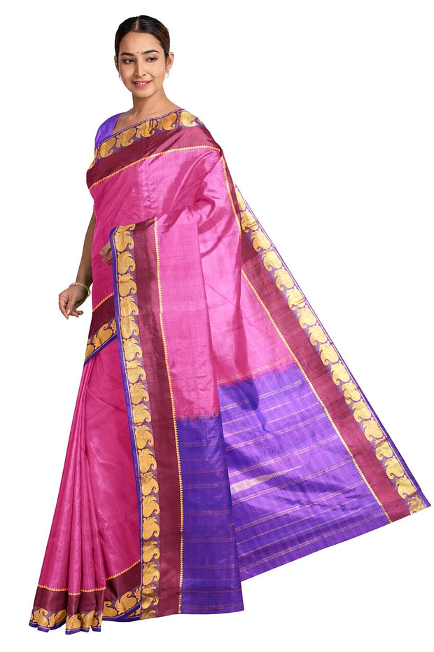 Handloom Kanchi pure silk saree in pink in self stripes and mango motifs in border - Anivartee