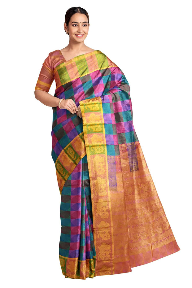 Handloom pure silk saree in multicolour geometric pattern with peacock motifs in pallu. - Anivartee