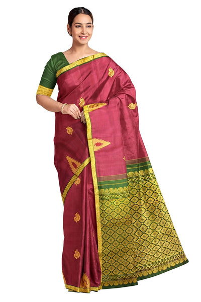 Handloom Kanchi pure silk saree in magenta with mango motifs and temple border - Anivartee