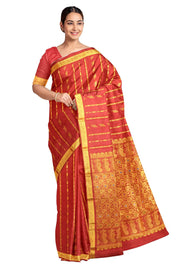 Handloom Kanchi pure silk saree in vermilion red with floral motifs and a small border