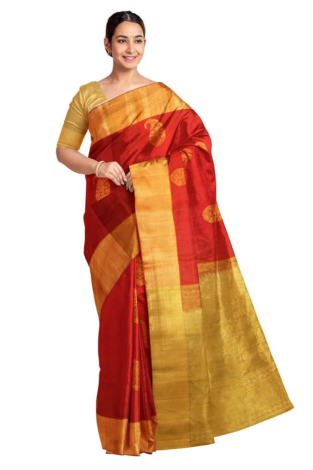 Handloom Kanchi soft silk saree in red with mango motifs .