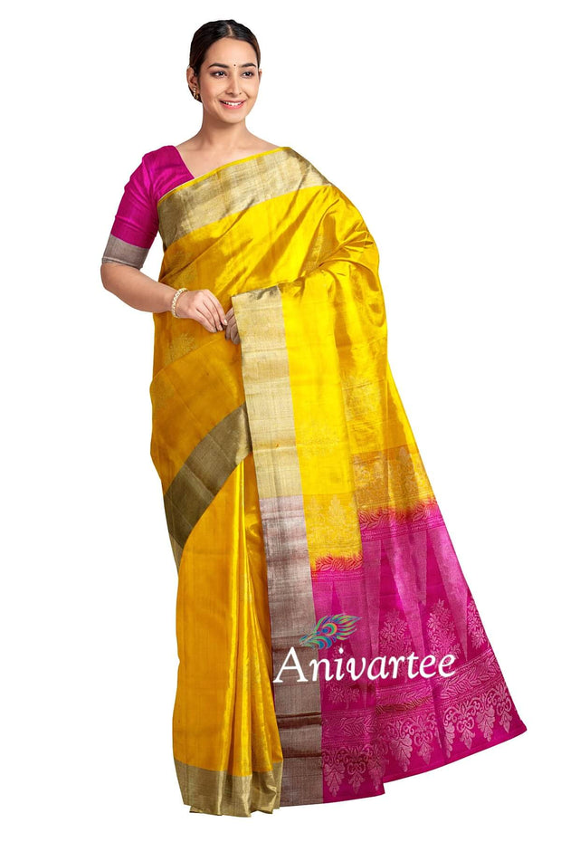 Handloom Kanchi soft silk saree in yellow with tree  motifs  in silver