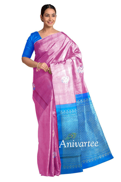 Handloom Kanchi borderless silk saree in lavender with peacock motifs and a rich pallu
