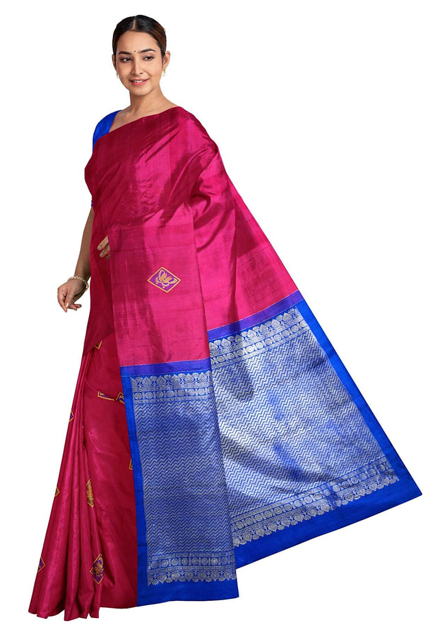Handwoven  Kanchi borderless pure silk saree in  magenta with butterfly  motifs