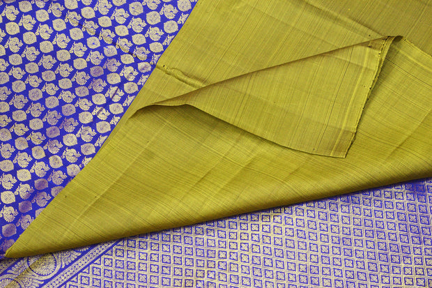 Handwoven Kanchi pure silk brocade saree in green with 23 inch border
