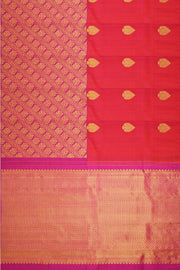 Handwoven Kanchi pure silk brocade saree in pinkish orange with 23 inch borde