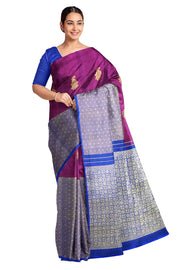 Handwoven Kanchi pure silk brocade saree in dual tone magenta blue with 23 inch border