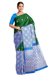 Handwoven Kanchi pure silk brocade saree in dark green with 23 inch border