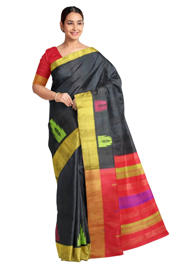 Handloom Kanchi pure silk saree in black with temples in dupioni finish