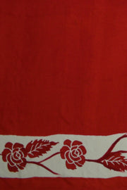 Printed Mulberry pure silk saree with floral pattern in half & half style in red