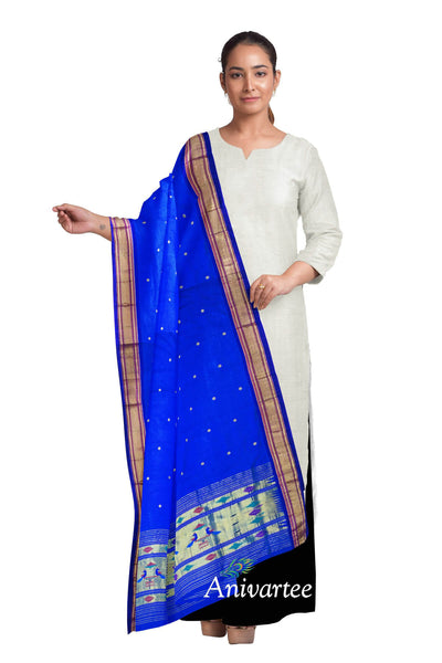 Handloom Paithani pure silk dupatta in blue with peacock motifs in pallu