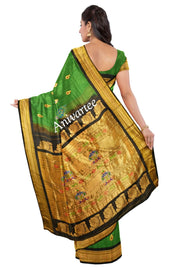 Handwoven Paithani pure silk saree in  green with meenakari peacock motifs on the body pure silk saree