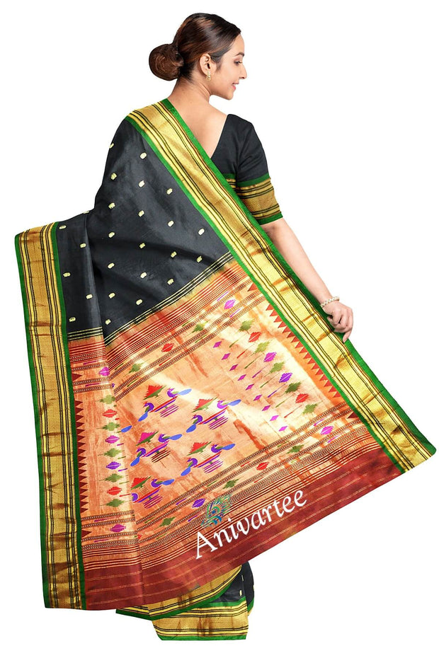 Handwoven Paithani pure silk saree in black with small mango motifs on the body and a contrast pallu.