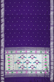 Handwoven Paithani pure silk saree in violet with small mango motifs on the body and contrast pallu & borders in silver