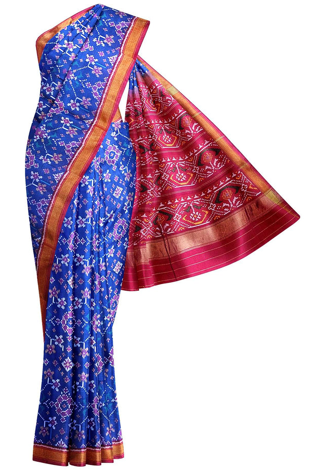 Gorgeous handwoven Patola pure silk saree in blue in navaratna pattern