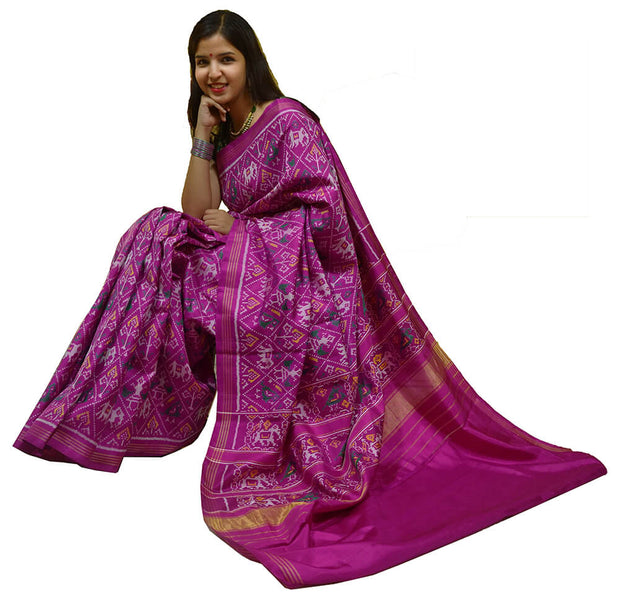 Gorgeous handwoven Patola pure silk saree in fuchsia in narikunj pattern