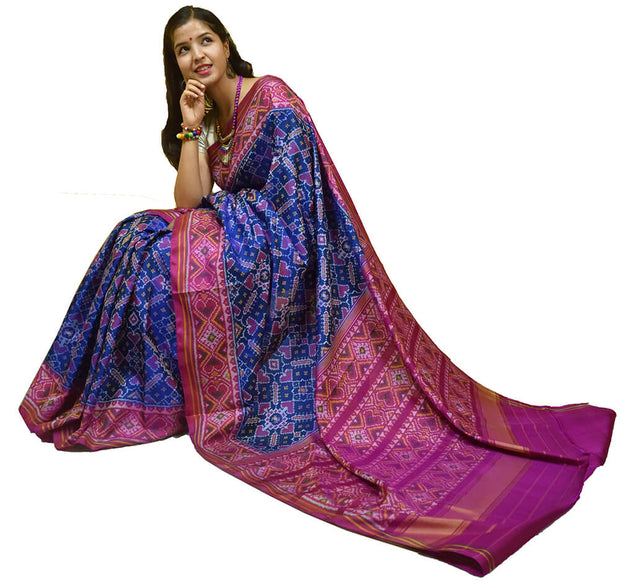Gorgeous handwoven Patola pure silk saree  in patan patola pattern