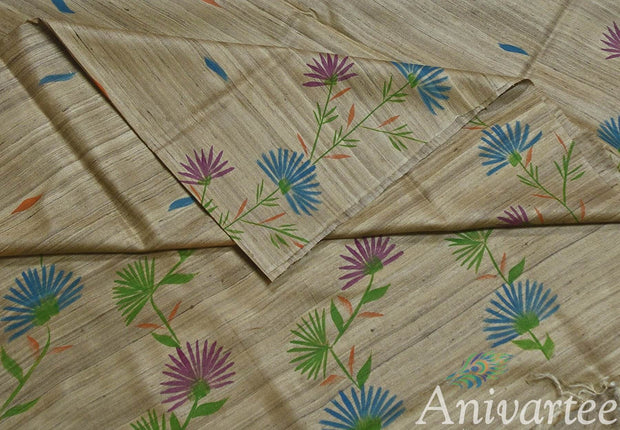 Handloom desi tussar silk saree with handpainted floral pattern - Anivartee
