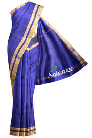 Handloom desi tussar  silk saree in blue - Anivartee
