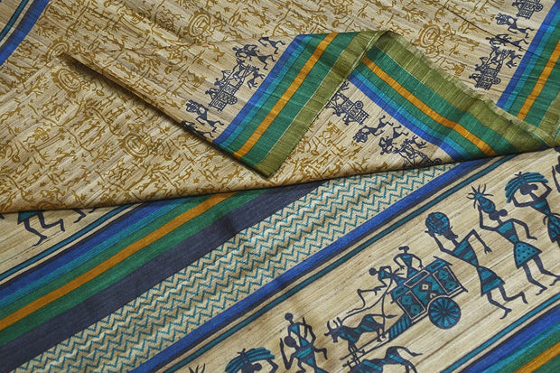 Handloom desi tussar pure silk saree in tribal art pattern with blue & green border