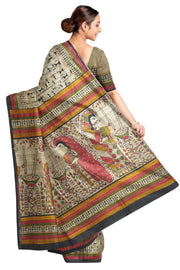 Handloom desi tussar pure silk saree in tribal art pattern with multicoloured  border