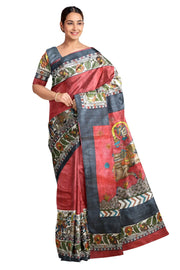 Handloom desi tussar pure silk printed saree in two tone red