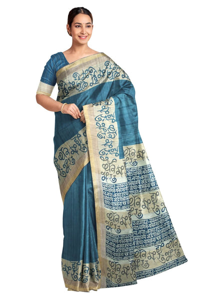 Handloom desi tussar pure silk saree with Indian language print