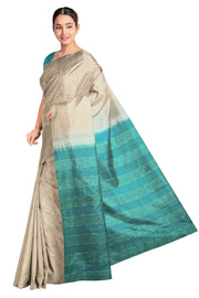 Handloom desi tussar pure silk saree in striped beige with  contrast pallu in teal green