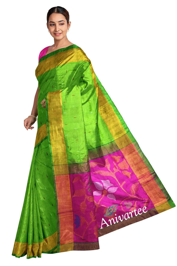 Handwoven Uppada pure silk saree in green & pink