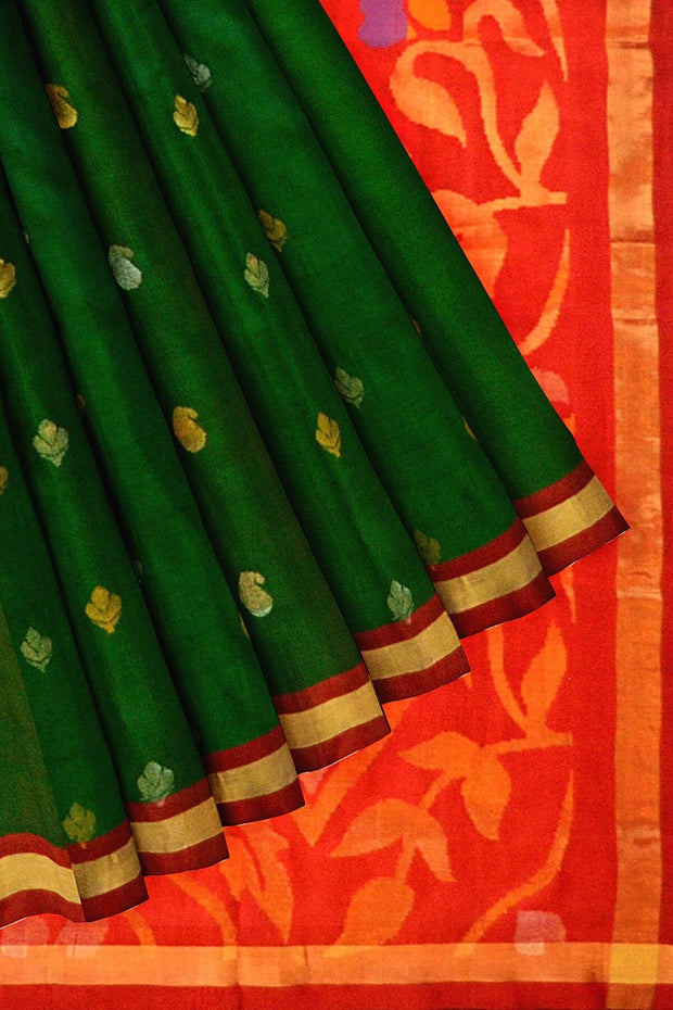 Handwoven Uppada pure silk saree in green & red