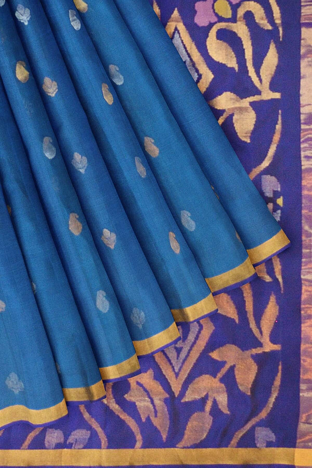 Handwoven Uppada pure silk saree  in peacock blue