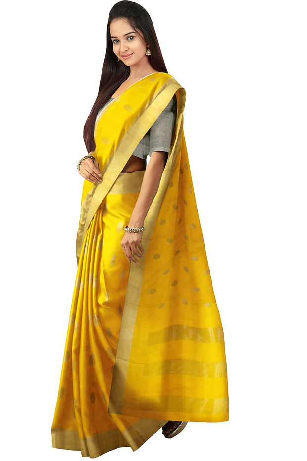 Uppada pure silk saree in yellow  with silver motifs, borders & blouse