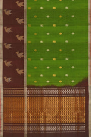 Handwoven Uppada pure silk saree in green with skirt border