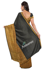 Handloom Uppada  silk and tissue saree in black - Anivartee